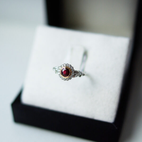 Round Brilliant Cut Ruby Diamond Halo Marquise And Round Shoulders
