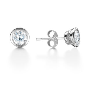 Rub Over Platinum Diamond Studs