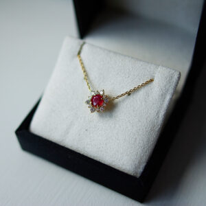Ruby And Alternating Diamond Halo Pendant
