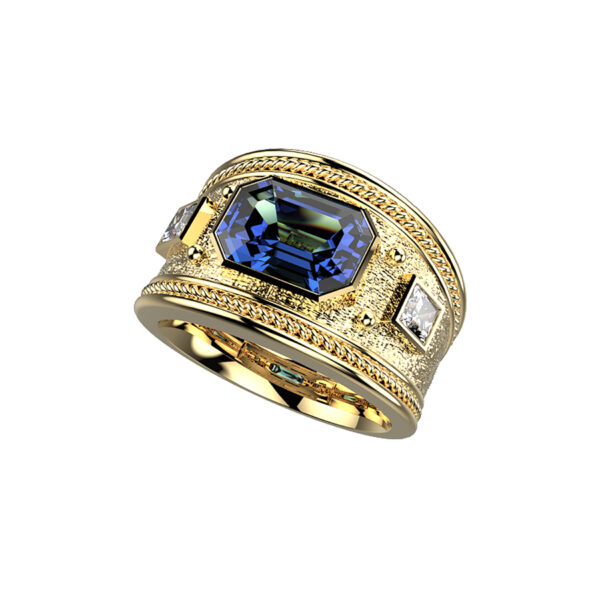 Emerald Cut Sapphire Yellow Gold Dress Ring With Princess Cut