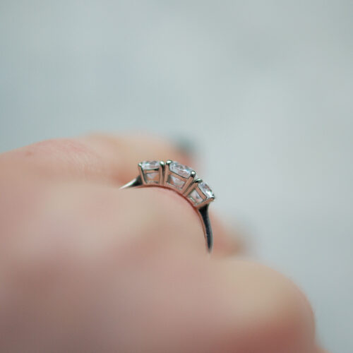 Trilogy Engagement Ring With Three Round Brilliant Cut Diamonds