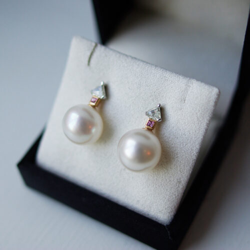 South Sea Pearl Earrings With Pink Sapphires And Trilliant Diamonds