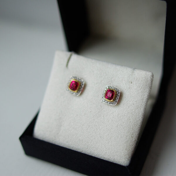 Cushion Spinel And Diamond Halo Studs