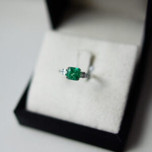 Square Emerald Cut With Pear Cut Diamond Trilogy Ring