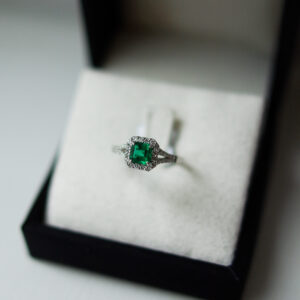 Square Emerald Cut Emerald Ring With Halo And Diamond Set Split Shoulders