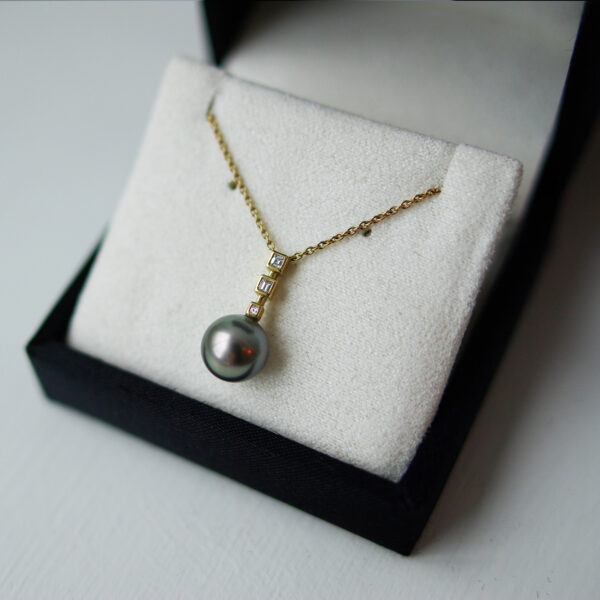 Tahitian Pearl Drop With Baguette Diamonds