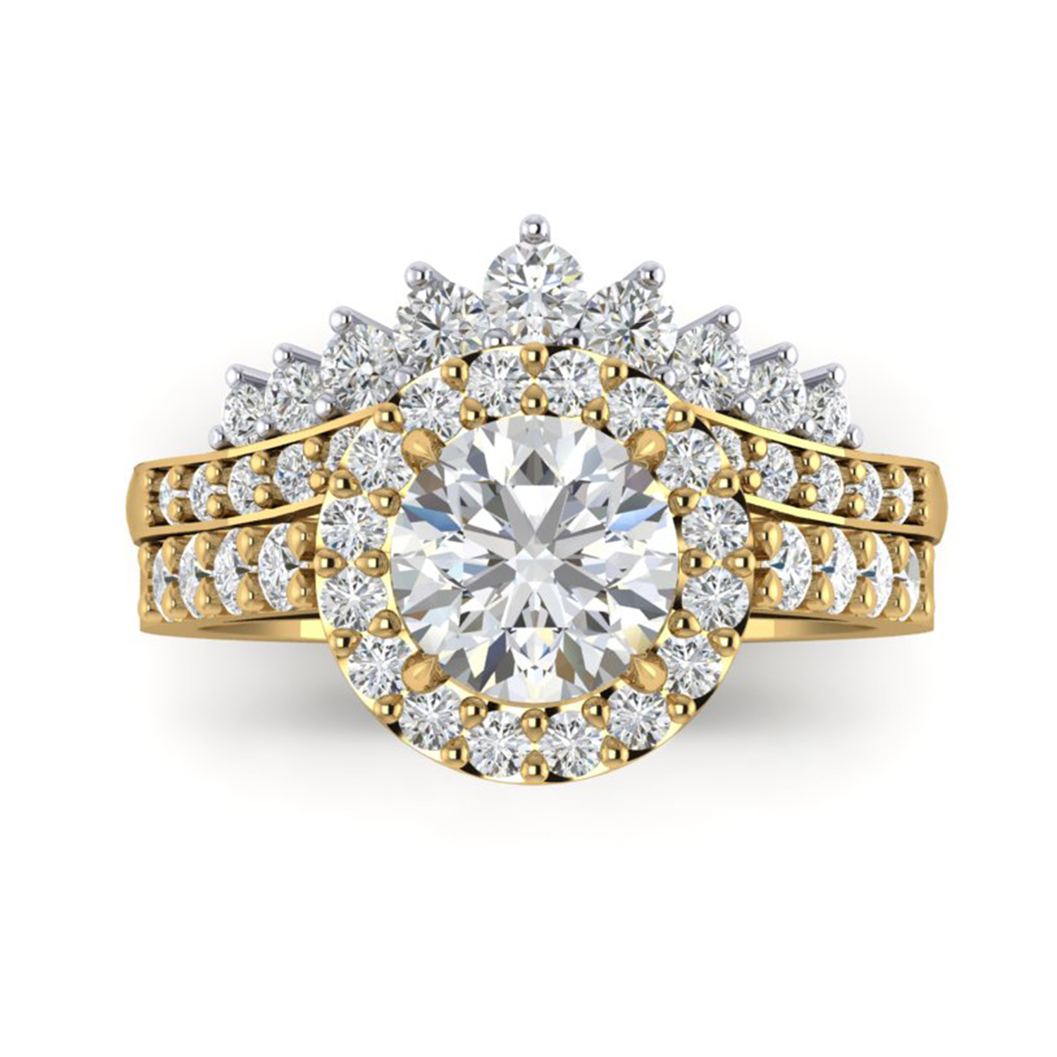 Tiara Diamond Fitted Wedding Band And Cluster Ring