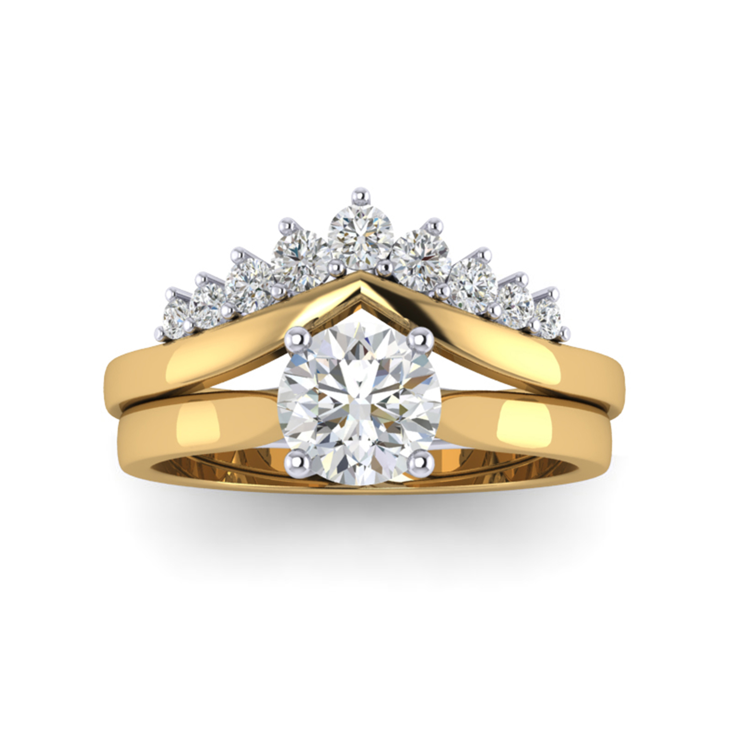 Tiara Diamond Fitted Wedding Band And Solitaire