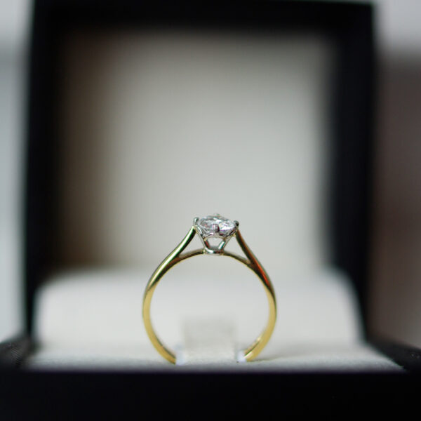 Round Brilliant Cut Diamond Solitaire Engagement Ring Two Tone Gold With Four Claws Juliette