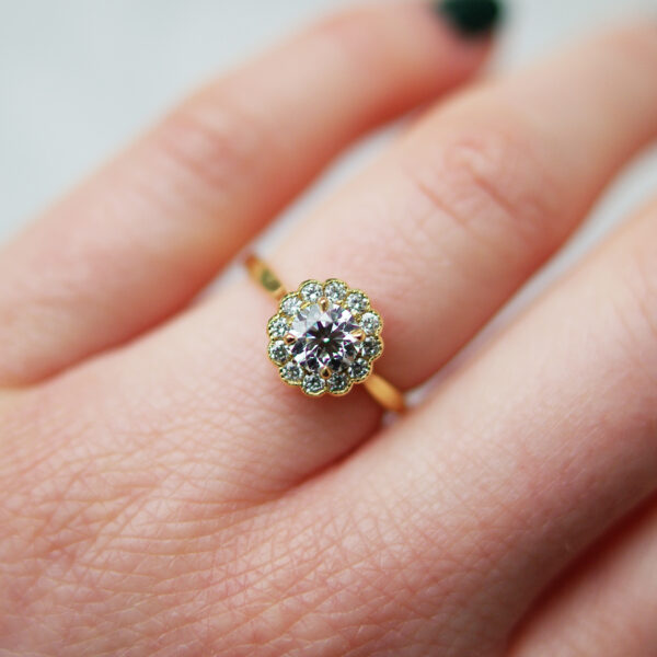 Round Brilliant Cut Diamond And Halo Mil grain Engagement Ring