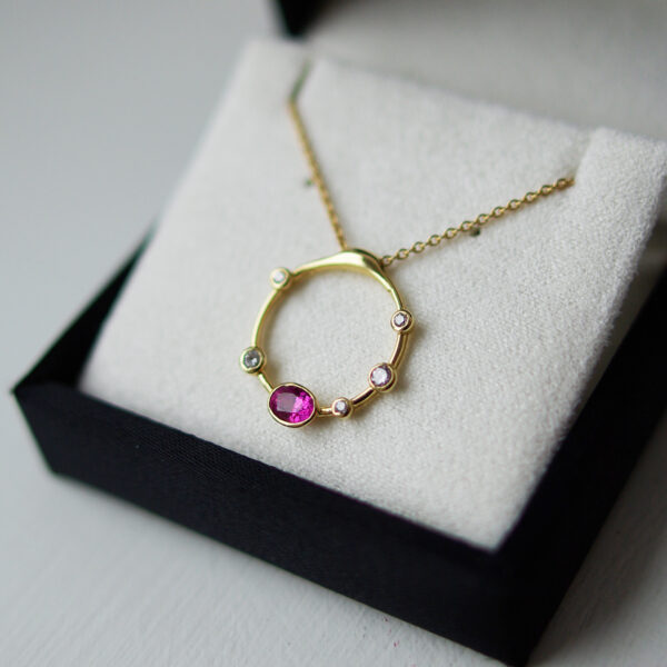 18ct Yellow Gold Vivid Pink Sapphire Diamond Bubble Necklace