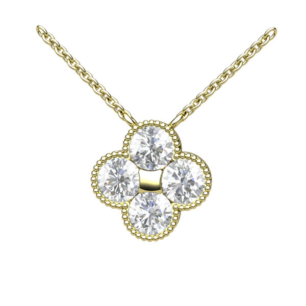 Yellow Gold Quatrefoil Necklace With Diamond